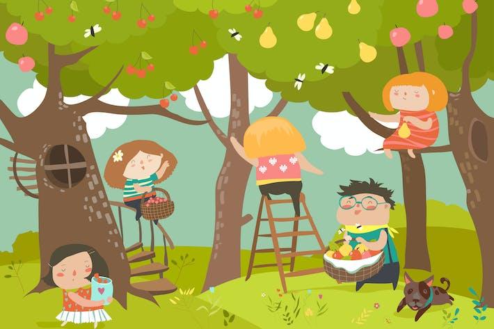 Thumbnail for Glückliche Kinder ernten. Fröhlichen Sommer. Vektor