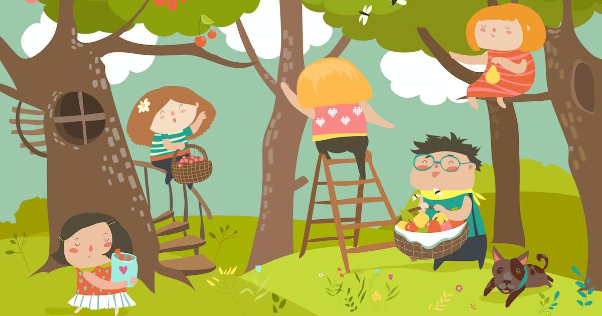 Download Happy children harvesting. Happy summer. Vector by masastarus