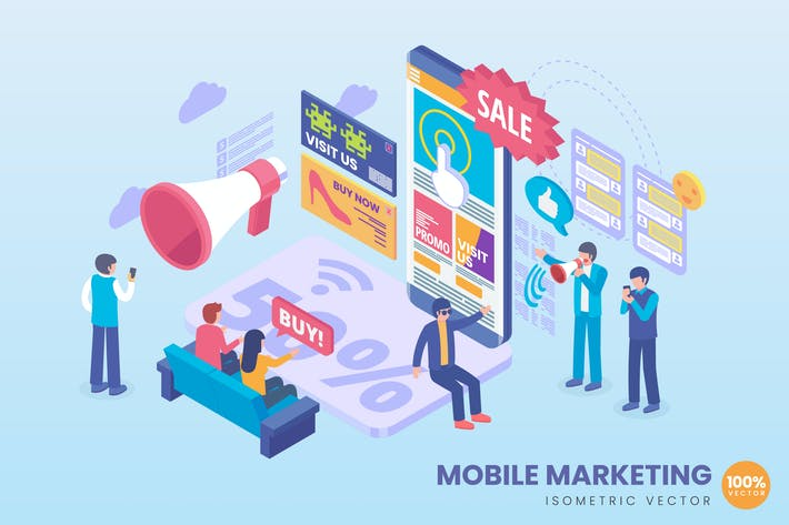 Thumbnail for Isometric Mobile Marketing Concept Illustration