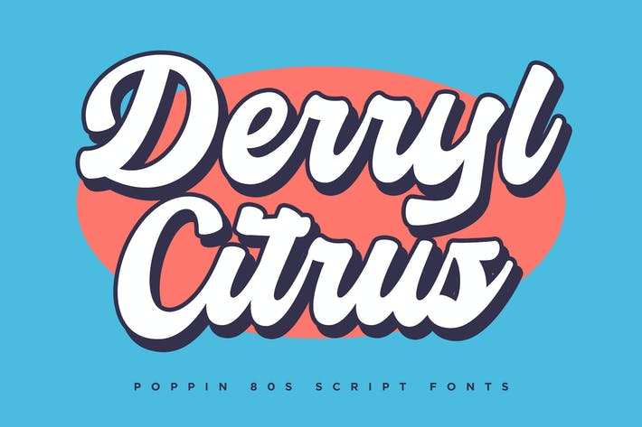 Thumbnail for Derryl Citrus - Poppin 80s Script Fonts