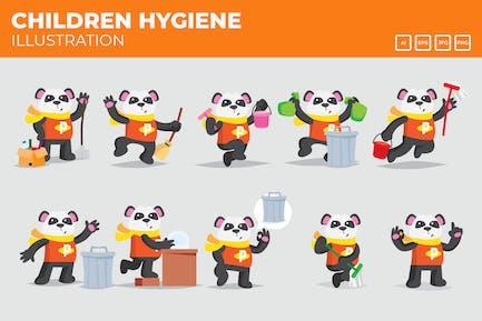 Panda-Kampagne für Reinigung und Hygiene.
