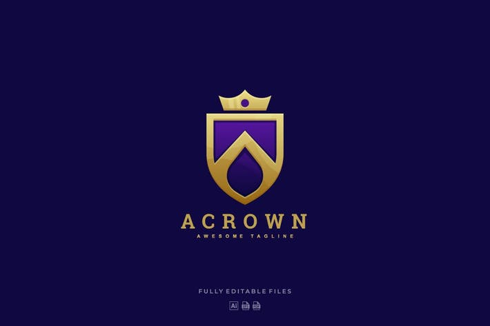 Thumbnail for Abstract Letter A with Crown Luxury Logo