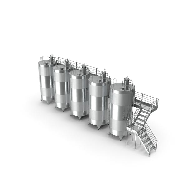 Stainless Steel Wine Tanks Set with Stairs