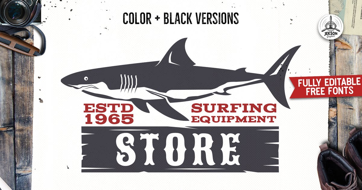 Download Surfing Adventure Logo Template Shark Retro Design by JeksonJS