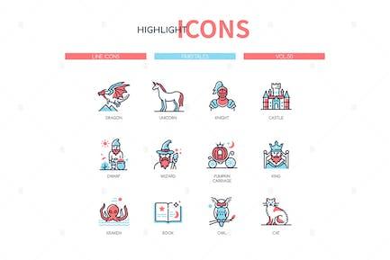 Fairytales concept - line design style icons set