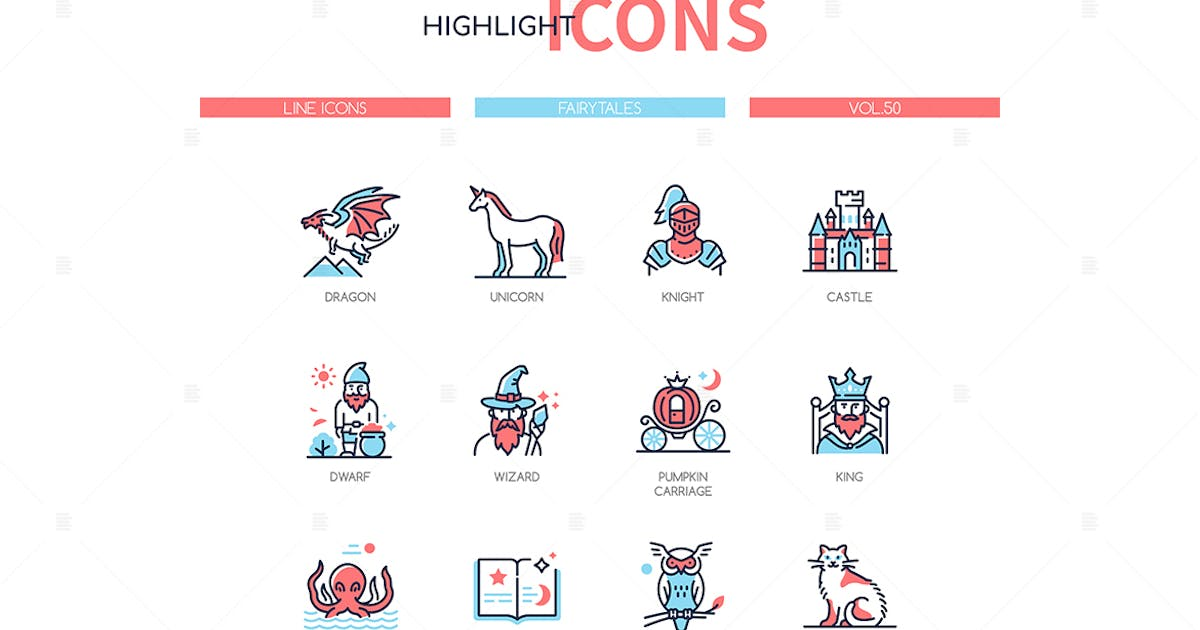 Download Fairytales concept - line design style icons set by BoykoPictures