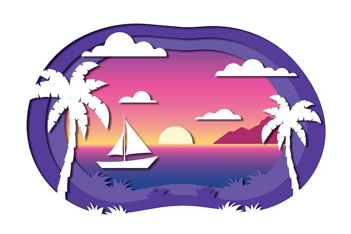 Thumbnail for Sunset - Vector Paper Cut Illustration