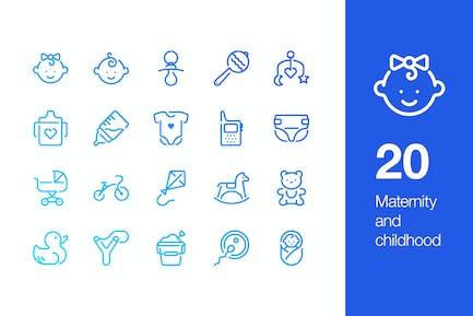 20 Icons für Mutterschaft und Kindheit