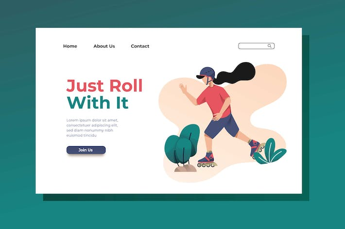 Thumbnail for Roller Skater Landing Page Illustration
