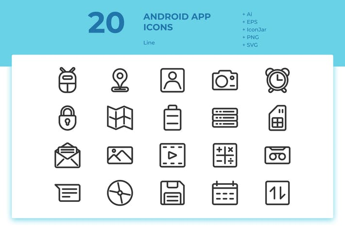 Thumbnail for 20 Android App Icons (Line)