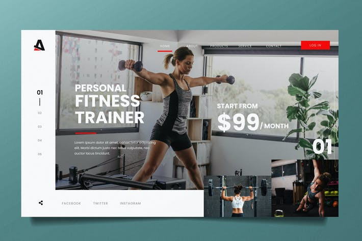 Thumbnail for Gym Training Web Header PSD and AI Vector Template