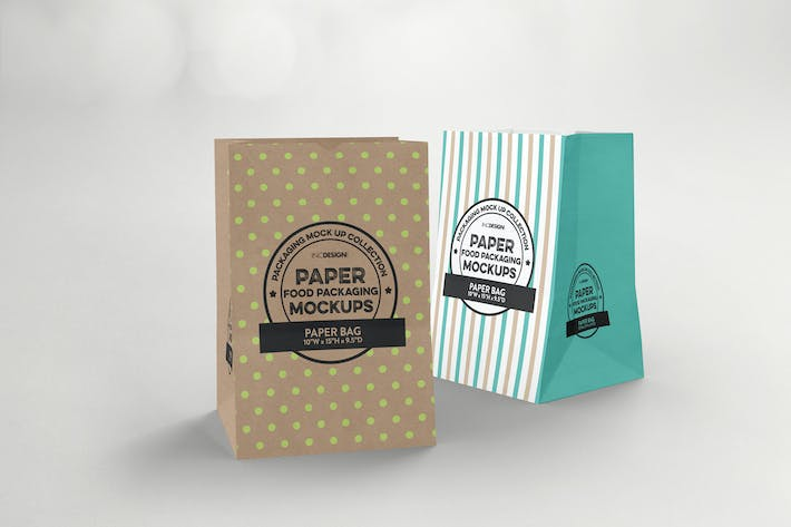 Thumbnail for Grocery Paper Bags Packaging Mockup