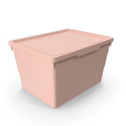 Rosa Aufbewahrungsbox aus Kunststoff mit Deckel