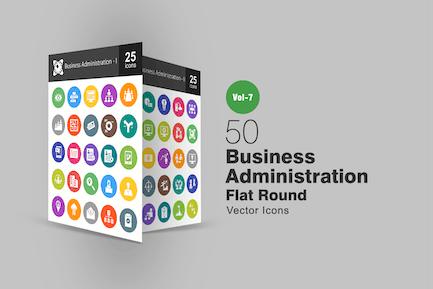 50 Íconos redondos planos de administración de Negocios