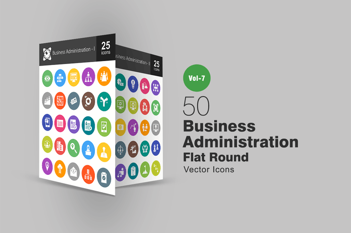 Thumbnail for 50 Business Administration Flat Round Icons