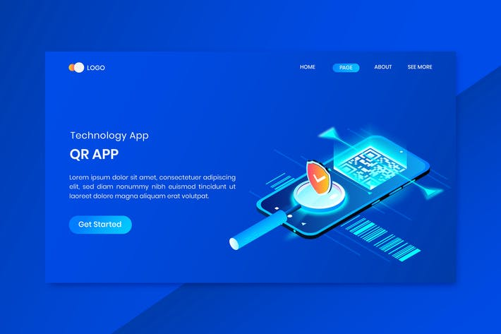 QR App Scanner  Isometric Concept Landing Page
