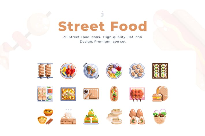 Thumbnail for 30 Street Food Icon set - Flat