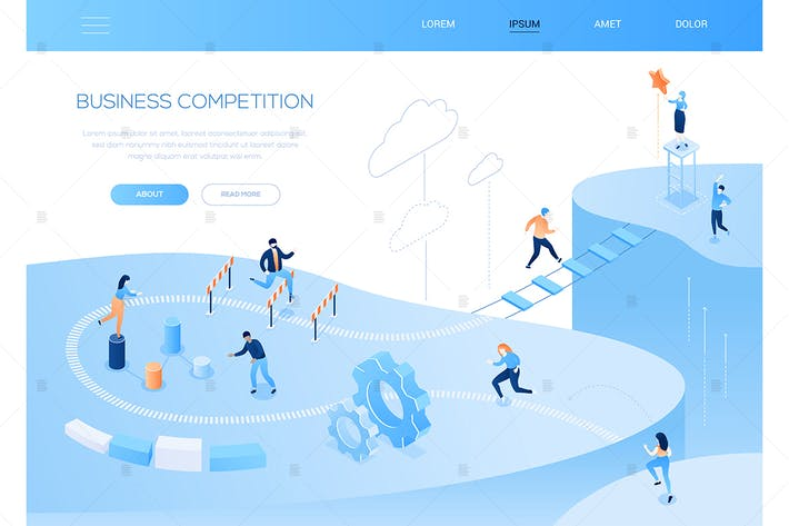 Thumbnail for Business competition - isometric vector web banner