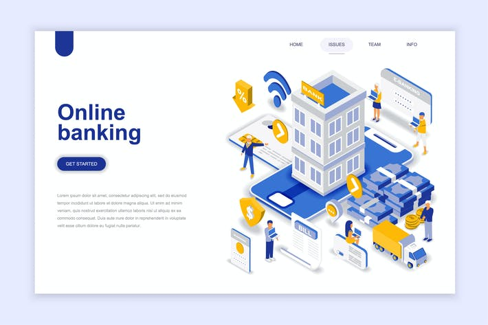 Thumbnail for Online Banking Isometric Landing Page