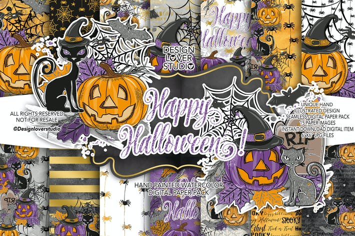 Thumbnail for Happy Halloween Digitalpapier Pack