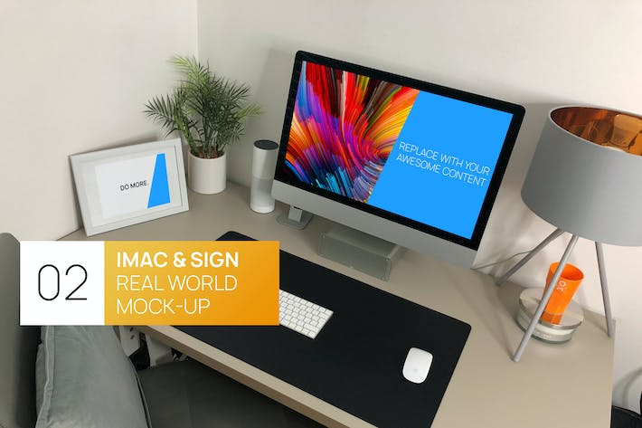 Thumbnail for iMac 27 with Sign Real World Photo Mock-up