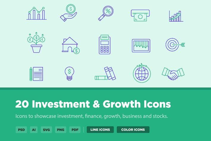 Thumbnail for 20 Icons für Investitionen und Wachstum