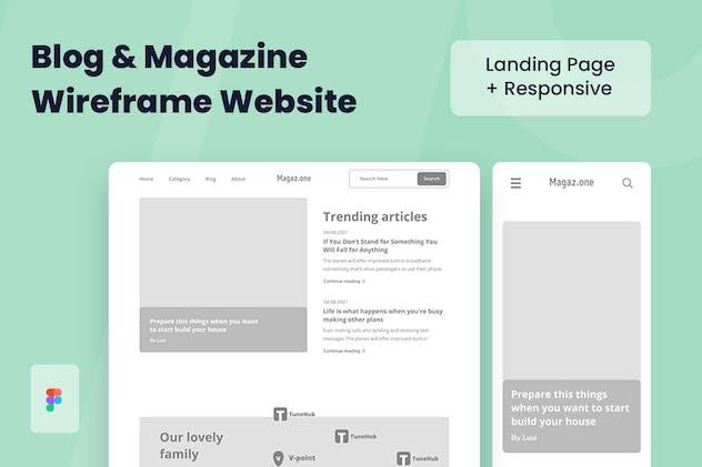 Magazine Blog Wireframe Website