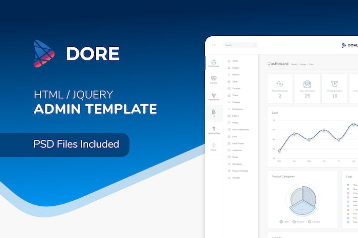 Thumbnail for Dore - Html jQuery Admin Template