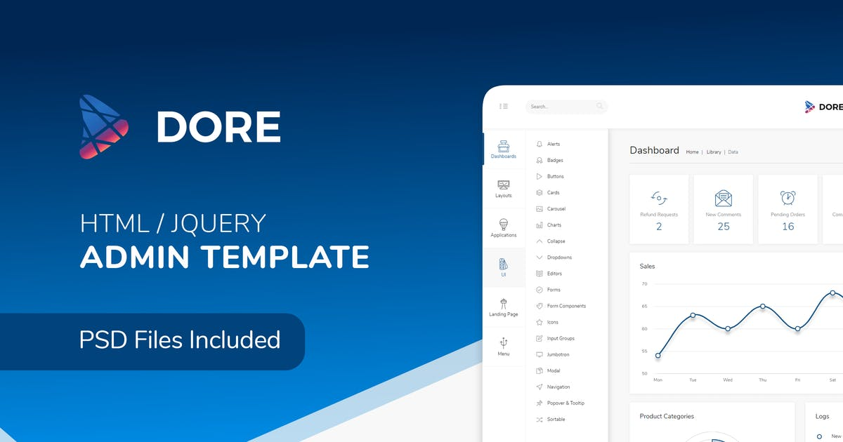 Download Dore - Html jQuery Admin Template by ColoredStrategies