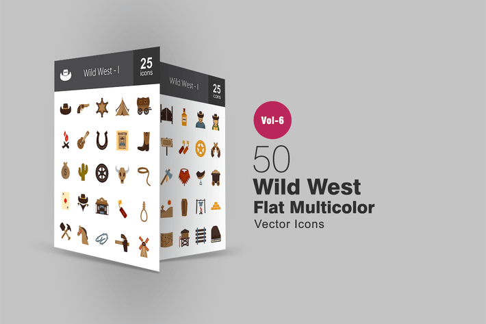 Thumbnail for 50 Wild West Flat Multicolor Icons