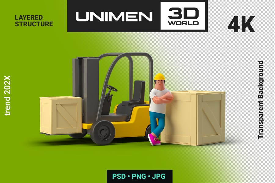 3D Man Worker near Loader with Box Container