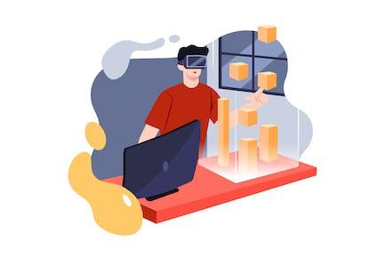Ingeniero de Ciencias de la Computación con auriculares de realidad virtual