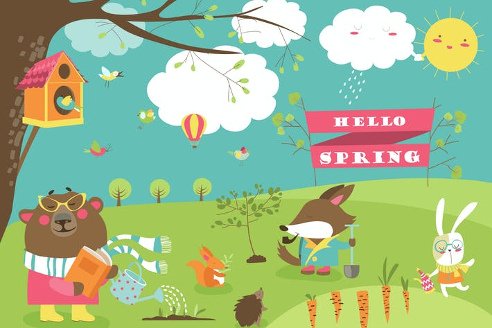 Thumbnail for Cute cartoon animals in spring forest