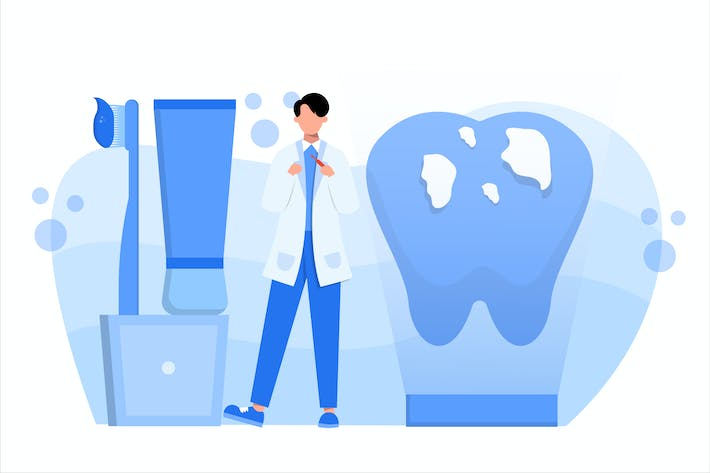Thumbnail for Dental Treatment Flat Vector Illustration