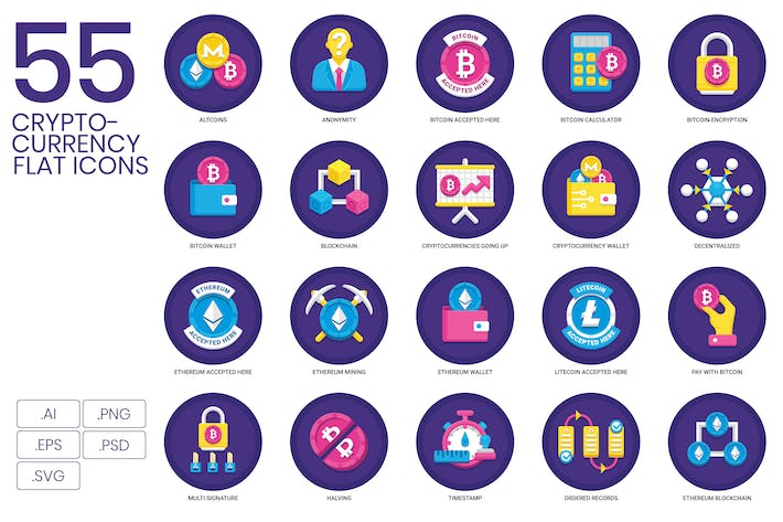 Cover Image For 95 Cryptocurrency Flat Icons