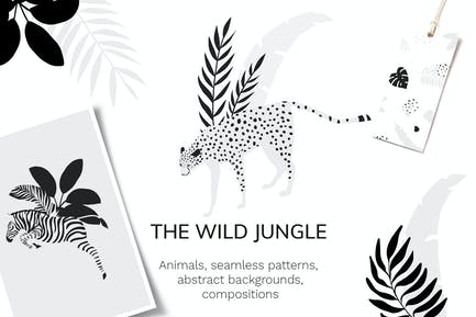 Tropical patterns & animals clipart
