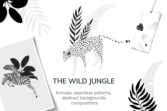 Thumbnail for Tropical patterns & animals clipart
