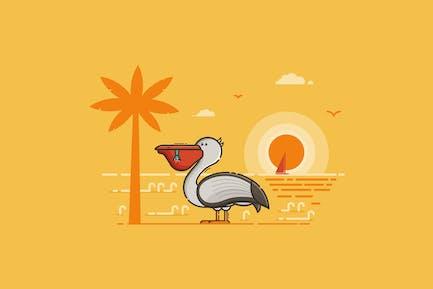 Pelícano feliz en escena costera