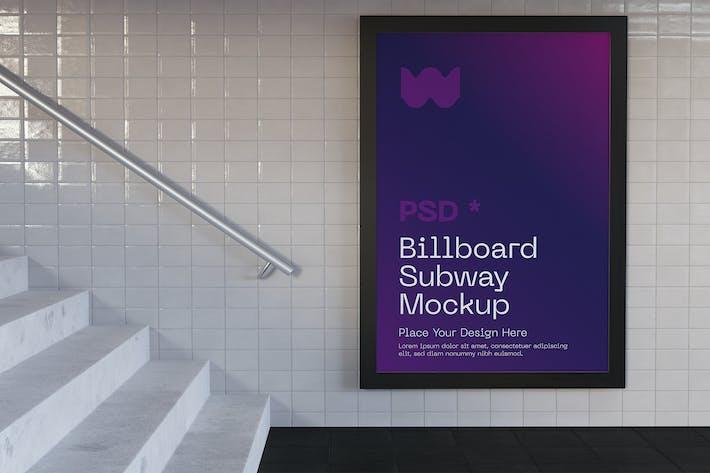 U-Bahn-Anschlagtafel Mockup