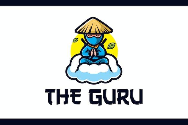 Cartoon Calm Ninja Guru Mascot Logo