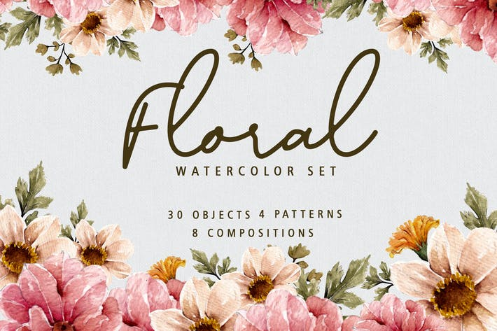 Thumbnail for Blumen-Aquarell Set