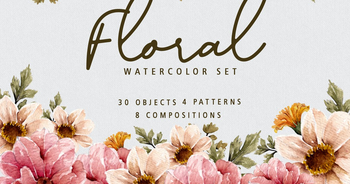 Download Floral Botanical Watercolor Set by yipianesia