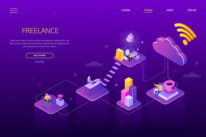 Thumbnail for Freelance work - modern isometric web banner