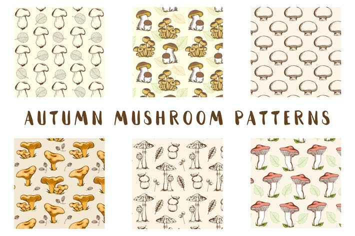 Cover Image For Vintage Autumn Mushroom Patterns