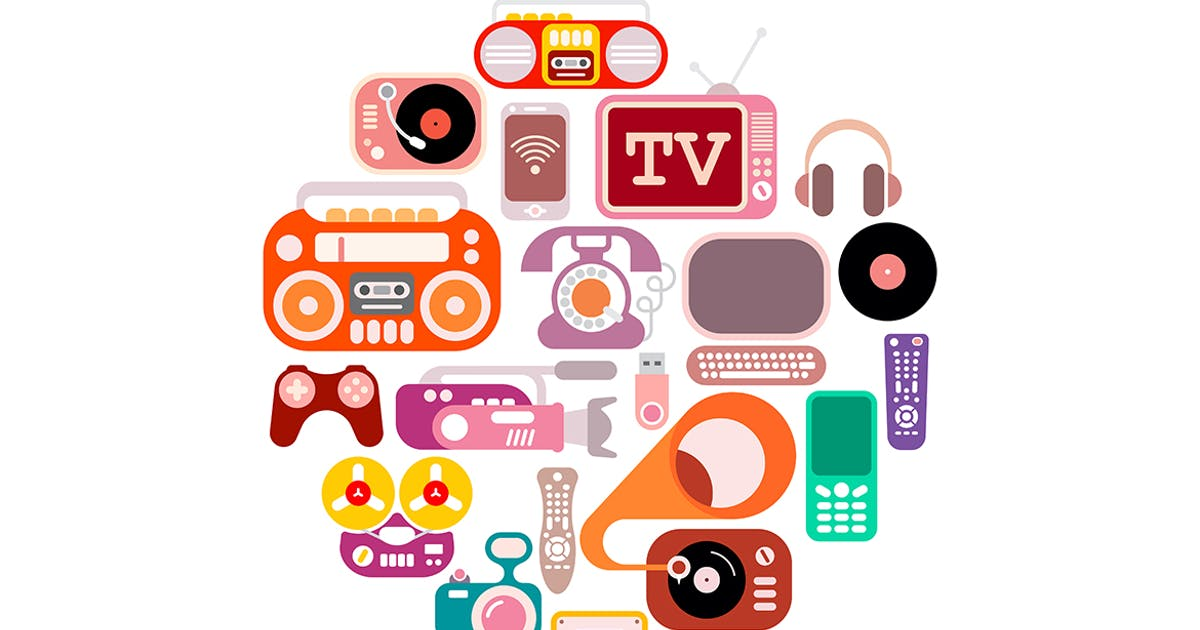 Download Electronic Icons round shape vector illustration by danjazzia