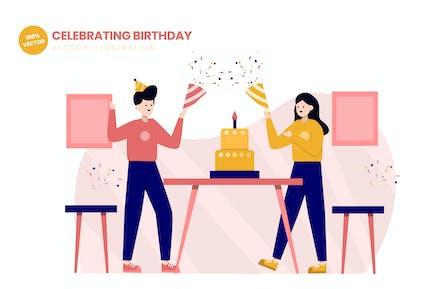 Feiern Geburtstag Flat Vektor Illustration