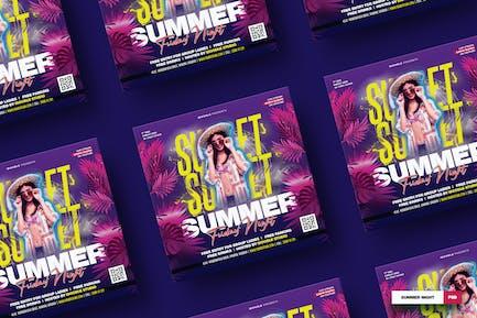 Summer Night Square Flyer und Socials Medien
