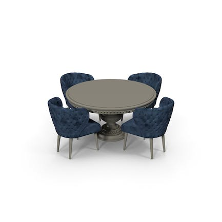 Blue Fabric Velvet Dining Table Set for 4 persons