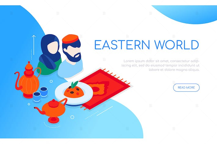 Thumbnail for Eastern world - modern colorful isometric banner