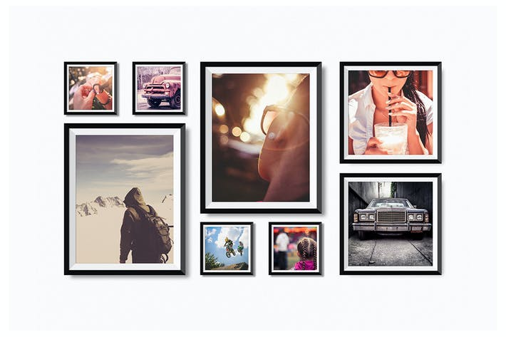 Cover Image For Realistic Photo Frames on Wall Mock-Up